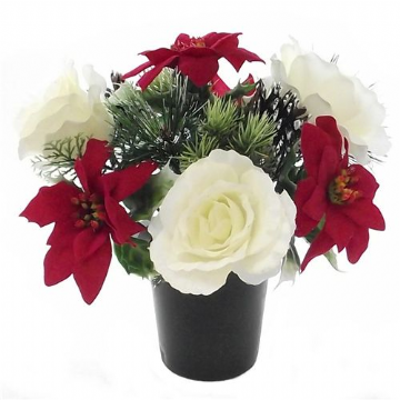 Christmas Grave Pot - Red , White